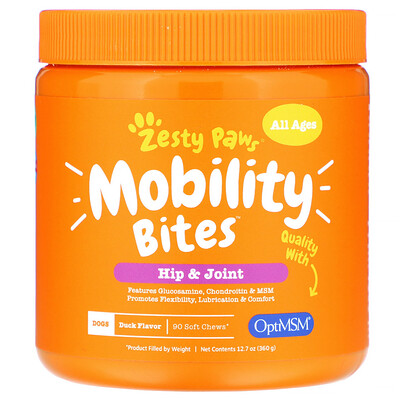 Купить Zesty Paws Mobility Bites for Dogs, Hip and Joint, All Ages, Duck Flavor, 90 Soft Chews, 12.7 oz (360 g)