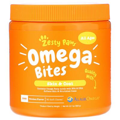 Купить Zesty Paws Omega Bites, добавка для собак, для любого возраста, со вкусом курицы, 90мягких жевательных таблеток