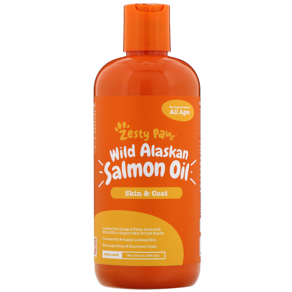 Zesty Paws, Wild Alaskan Salmon Oil for Dogs & Cats, Skin & Coat, All Ages, 16 fl oz (473 ml)