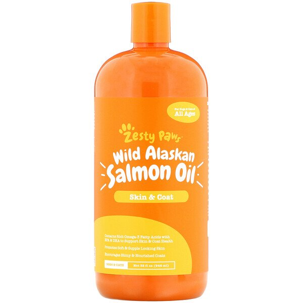 Zesty Paws, Wild Alaskan Salmon Oil for Dogs & Cats, Skin & Coat, All Ages, 32 fl oz (946 ml)