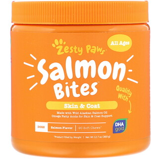 Zesty Paws, Salmon Bites for Dogs, Skin & Coat, All Ages, Salmon Flavor, 90 Soft Chews