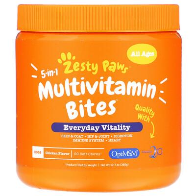 Купить Zesty Paws Multivitamin Bites, мультивитаминная добавка для собак 5в1, для повышения тонуса, для любого возраста, со вкусом курицы, 90мягких жевательных таблеток, 360г (12, 7унции)