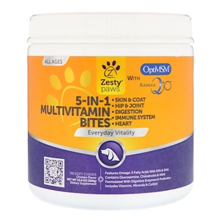 Zesty Paws, 5-In-1 Multivitamin Bites for Dogs, Everyday Vitality, All Ages, Chicken Flavor, 90 Soft Chews