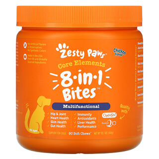 Zesty Paws, 8-In-1 Multifunctional Bites for Dogs, Everyday Vitality, All Ages, Chicken Flavor, 90 Soft Chews, 12.7 oz (360 g)