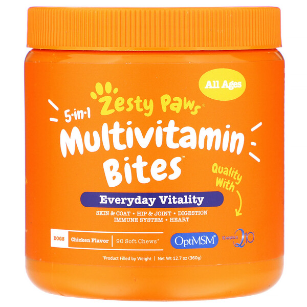5-In-1 Multivitamin Bites for Dogs, Everyday Vitality, All Ages, Chicken Flavor, 90 Soft Chews, 12.7 oz (360 g)