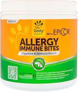 Zesty Paws, Allergy Immune Bites, Digestive & Immune Health, for Dogs, All Ages, Lamb Flavor, 90 Soft Chews