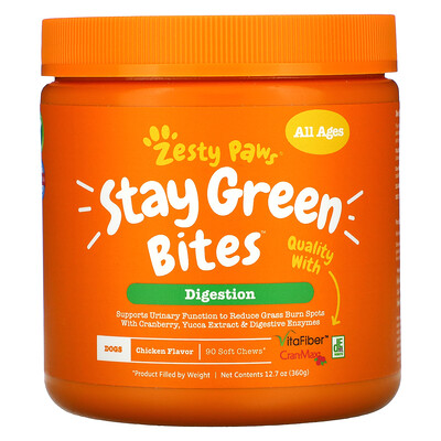 Купить Zesty Paws Stay Green Bites For Dogs, Digestion, All Ages, Chicken Flavor, 90 Soft Chews