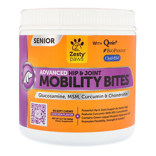 Zesty Paws, Mobility Bites für Hunde, Advanced Hip & Joint, Senior, Hühnergeschmack, 90 Soft Chews