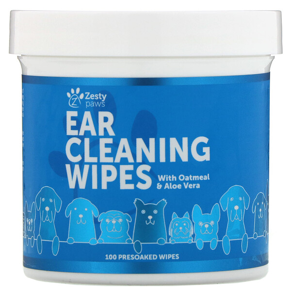 Zesty Paws,  Ear Cleaning Wipes, For Dogs, 100 Presoaked Wipes
