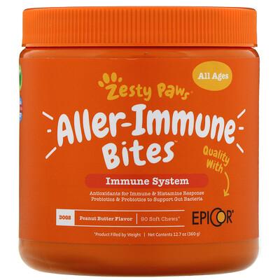 Купить Zesty Paws Aller-Immune Bites, добавка для собак, с ароматизатором «Арахисовая паста», 90мягких жевательных таблеток