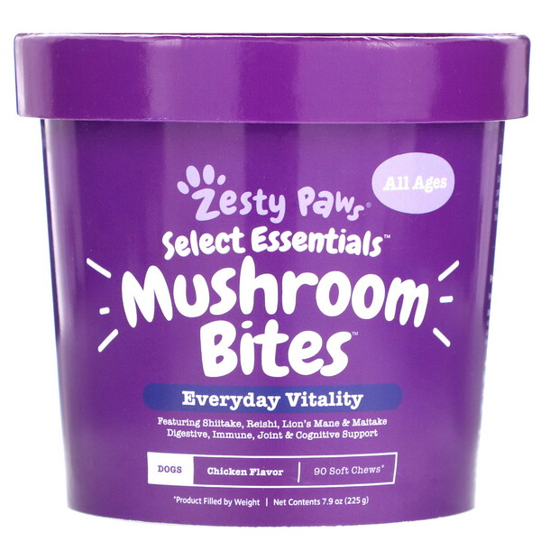 Mushroom Bites for Dogs, Everyday Vitality, All Ages, Chicken Flavor, 90 Soft Chews