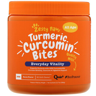 Zesty Paws, Turmeric Curcumin Bites for Dogs, Everyday Vitality, All Ages, Bacon Flavor, 90 Soft Chews