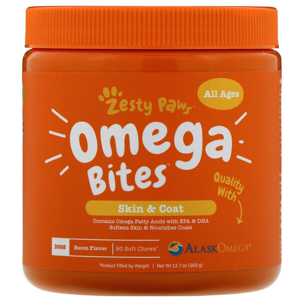 Zesty Paws, Omega Bites for Dogs, Skin & Coat, All Ages, Bacon Flavor, 90 Soft Chews