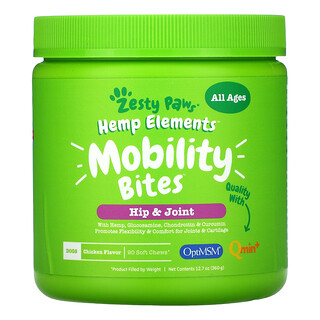 Zesty Paws, Hemp Elements, Mobility Bites For Dogs, All Ages, Chicken  , 90 Soft Chews