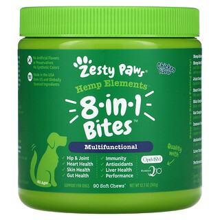 Zesty Paws, Hemp Elements, 8-In-1  Bites For Dogs, Multifunctional, All Ages, Chicken, 90 Soft Chews