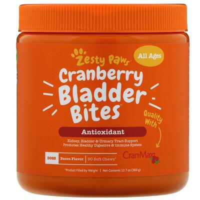 Купить Zesty Paws Cranberry Bladder Bites, добавка для собак с ароматизатором «Бекон», 90мягких жевательных таблеток