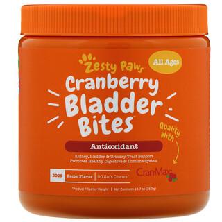 Zesty Paws, Cranberry Bladder Bites, добавка для собак с ароматизатором «Бекон», 90мягких жевательных таблеток