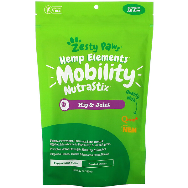 Hemp Elements, Mobility Nutrastix For Dogs, For All Ages, Peppermint Flavor, 12 oz (340 g)
