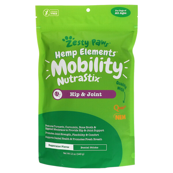 Zesty Paws, Hemp Elements, Mobility Nutrastix For Dogs, For All Ages, Peppermint, 12 oz (340 g)