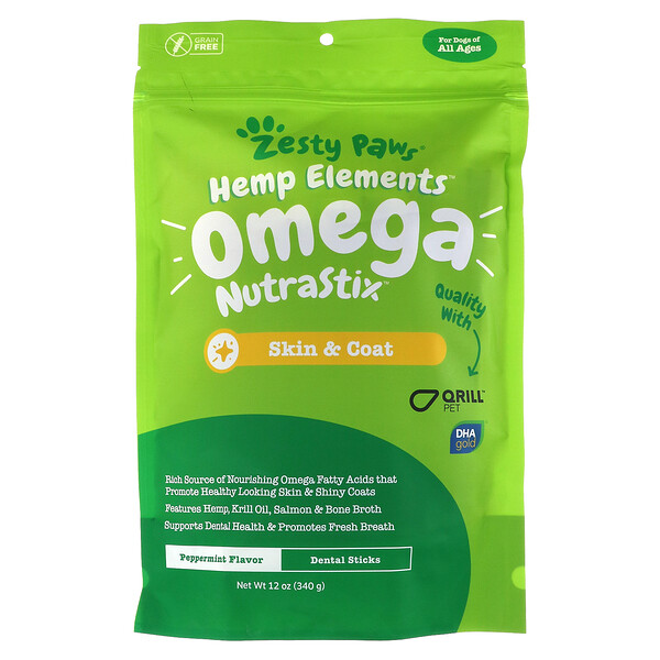 Zesty Paws, Hemp Elements, Omega NutraStix For Dogs, All Ages, Peppermint, 12 oz ( 340 g)