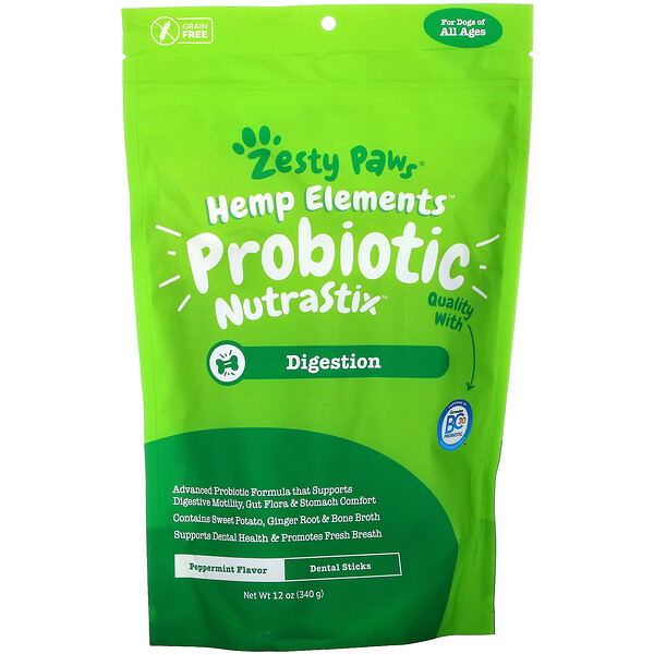 Hemp Elements, Probiotic NutraStix For Dogs, All Ages, Peppermint, 12 oz (340 g)