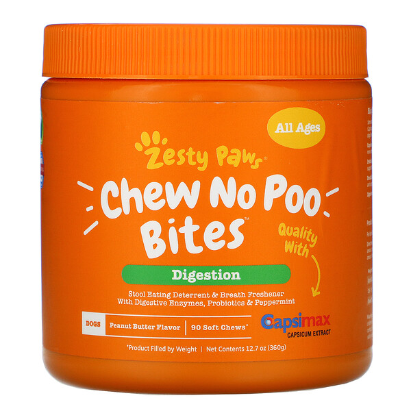 Zesty Paws, Chew No Poo Bites for Dogs, Digestion, All Ages, Peanut Butter Flavor, 90 Soft Chews, 12.7 oz (360 g)