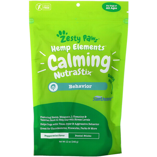Hemp Elements, Calming NutraStix For Dogs, All Ages, Peppermint, 12 oz (340 g)