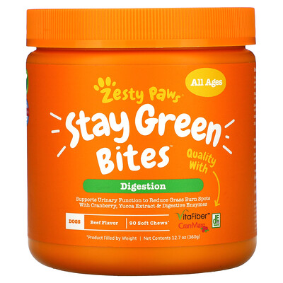 Купить Zesty Paws Stay Green Bites For Dogs, Digestion, All Ages, Beef Flavor, 90 Soft Chews