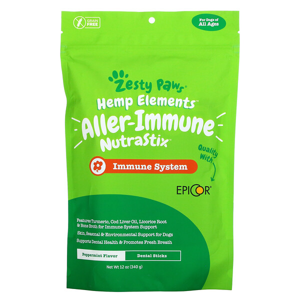 Zesty Paws, Hemp Elements, Aller-Immune NutraStix For Dogs, All Ages, Peppermint, 12 oz (340 g)