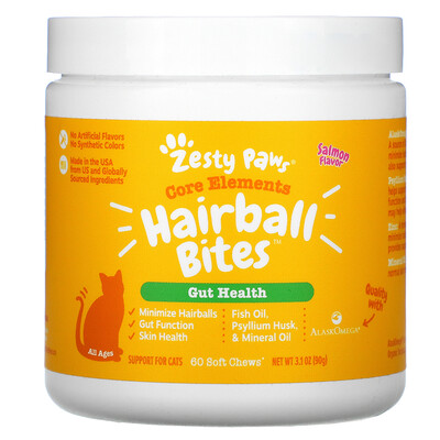 Zesty Paws Hairball Bites, Gut Health, For Cats, Salmon , 60 Soft Chews