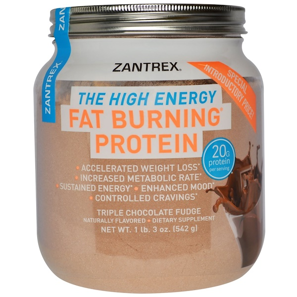 Zantrex, Fat Burning Protein Powder, Triple Chocolate Fudge, 1 lb 3 oz (542 g)
