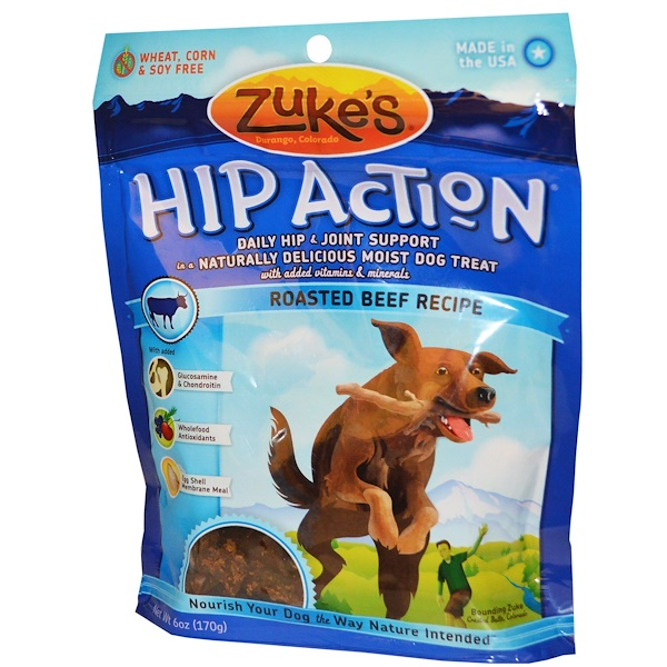 Zuke's, Hip Action, Dog Treats, Roasted Beef Recipe, 6 oz (170 g) (Discontinued Item)